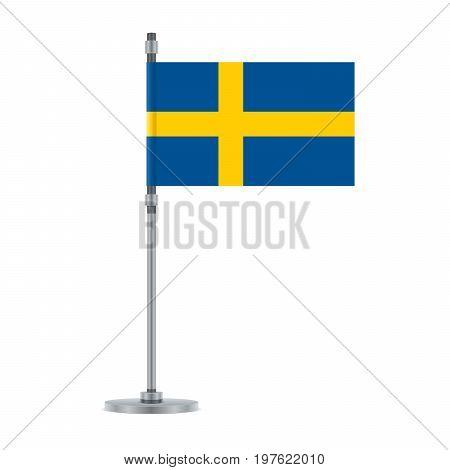Swedish Flag On The Metallic Pole, Vector Illustration