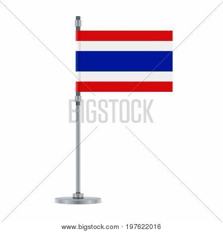 Thai Flag On The Metallic Pole, Vector Illustration