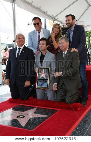 LOS ANGELES - July 26:  Will Arnett, Jennifer Aniston, Ben Allen, Official, Jason Bateman, Leron Gubler at the Jason Bateman WOF Ceremony at the Walk of Fame on July 26, 2017 in Hollywood, CA