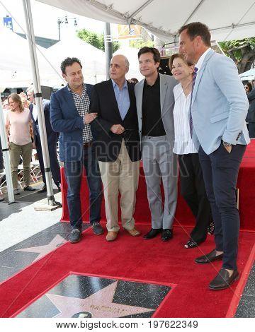 LOS ANGELES - July 26:  Mitchell Hurwitz, Jeffrey Tambor, Jason Bateman, Jessica Walter, Will Arnett at the Jason Bateman Hollywood Star Ceremony at the Walk of Fame on July 26, 2017 in Hollywood, CA