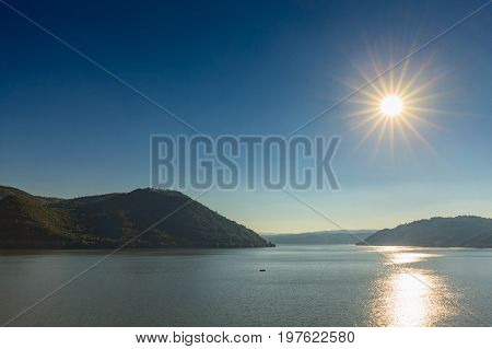 Danube the largest river in Romania under scorching sun