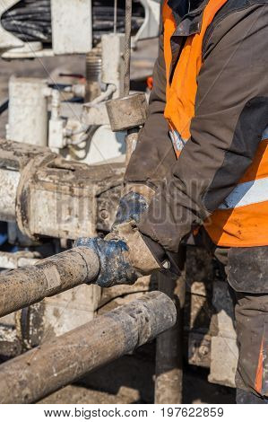 Drilling Crewmen Hands Connect Drill Pipe