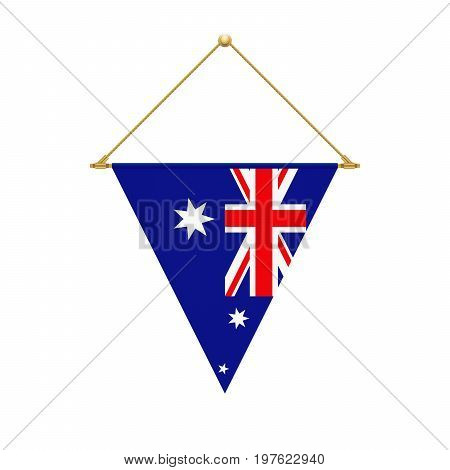 Australian Triangle Flag Hanging, Vector Illustration