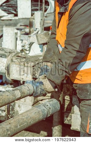Drilling Crewmen Hands Connect Drill Pipe 2