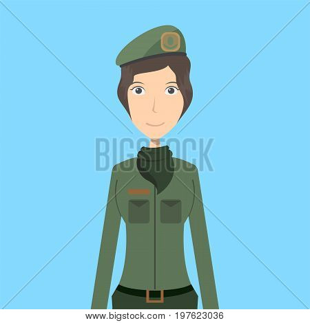 Soldier Character Female | set of vector character illustration use for human, profession, business, marketing and much more.The set can be used for several purposes like: websites, print templates, presentation templates, and promotional materials.