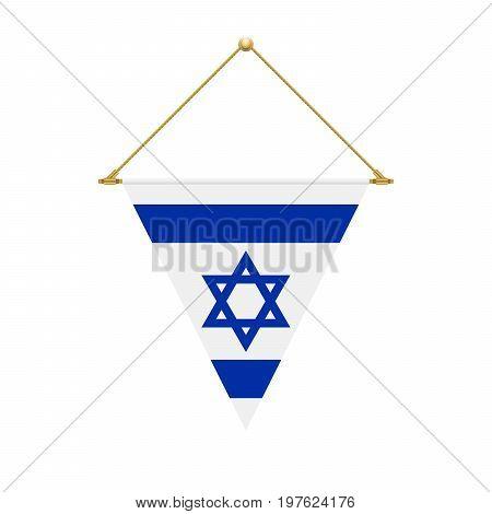 Israeli Triangle Flag Hanging, Vector Illustration