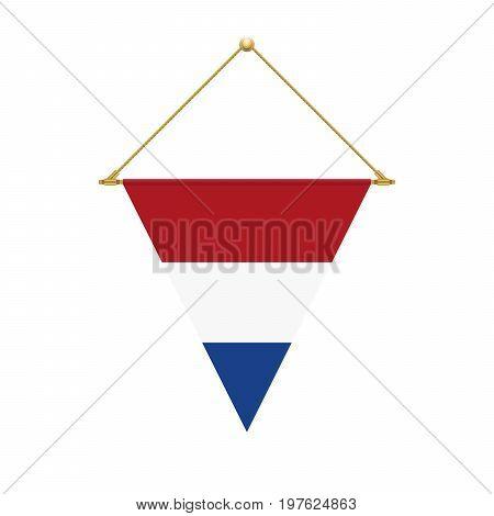 Dutch Triangle Flag Hanging, Vector Illustration