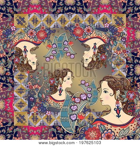 Bandana print with beautiful women portraits and floral ornament. Greeting card, pillowcase, square carpet.