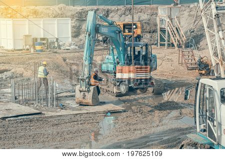 New Foundation With Heavy Machinery