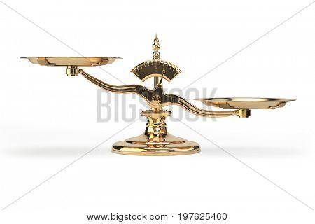 Golden balance scales isolated on white background. 3d illustration
