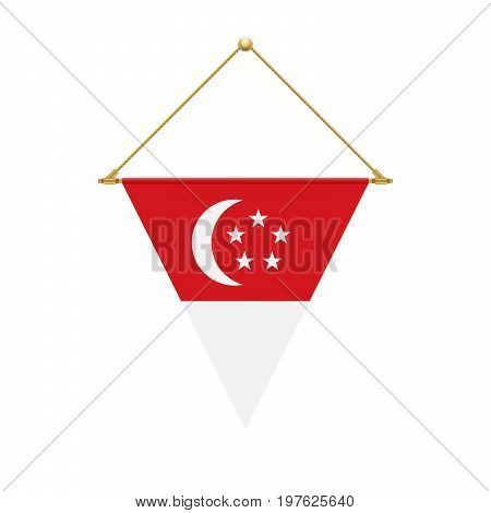 Singaporean Triangle Flag Hanging, Vector Illustration