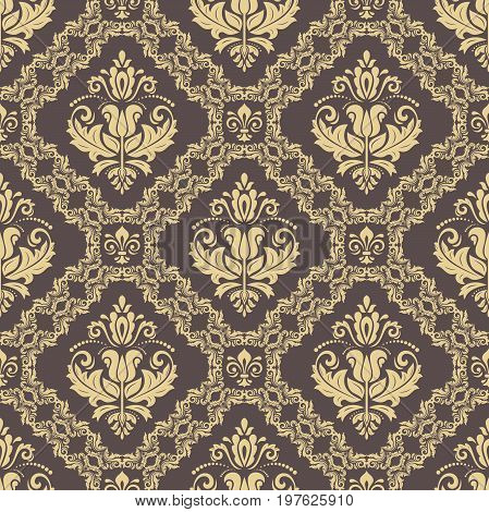 Orient vector classic pattern. Seamless abstract background with repeating elements. Orient brown and golden background