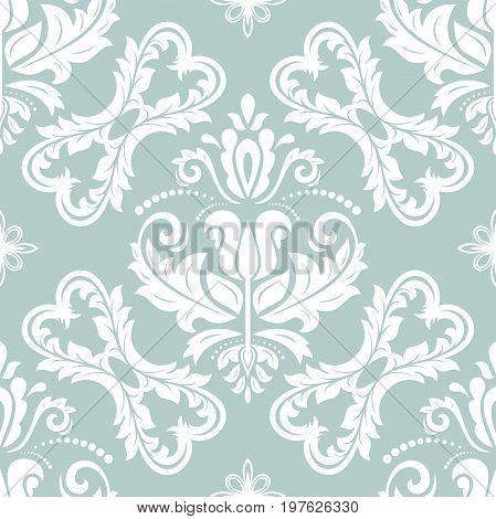 Classic seamless vector pattern. Traditional orient light blue and white ornament. Classic vintage background