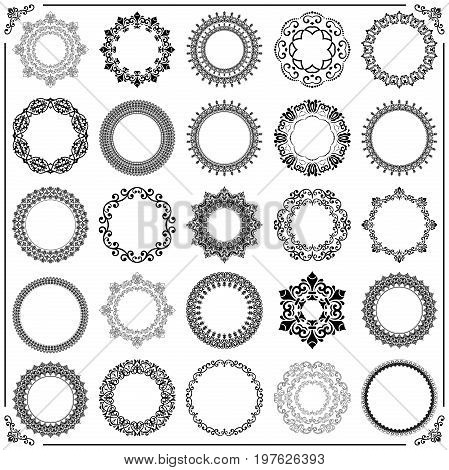 Vintage set of vector round elements. Different elements for decoration and design frames, cards, menus, backgrounds and monograms. Classic black patterns. Set of vintage patterns