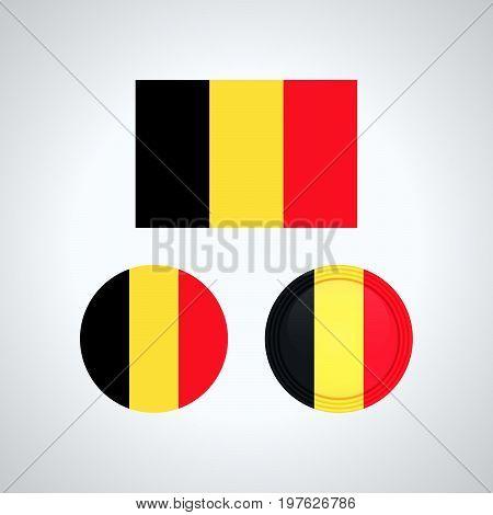 Belgian Trio Flags, Vector Illustration