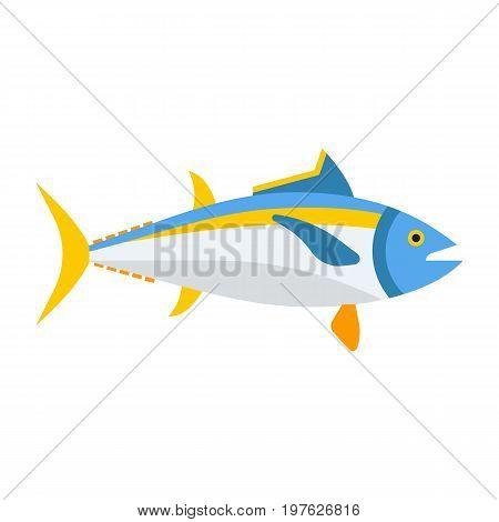 Cartoon tuna ocean fish vector icon. Blue tunny isolated on white background.