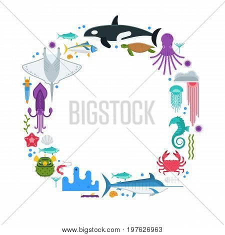 Oceanographic text frame with sea animals and fishes stylized in circle. Ocean and marine creatures and other aquatic life background with space for text. Vector illustration for cards, certificates.