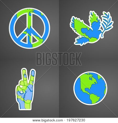 illustration of Peace Symbol, earth, fingers, hand, pigeon with World Peace Day text on the occasion of International Peace Day