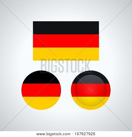 German Trio Flags, Vector Illustration