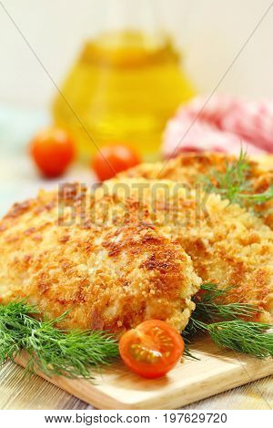 Fried Chicken Fillet In Bread Crumb