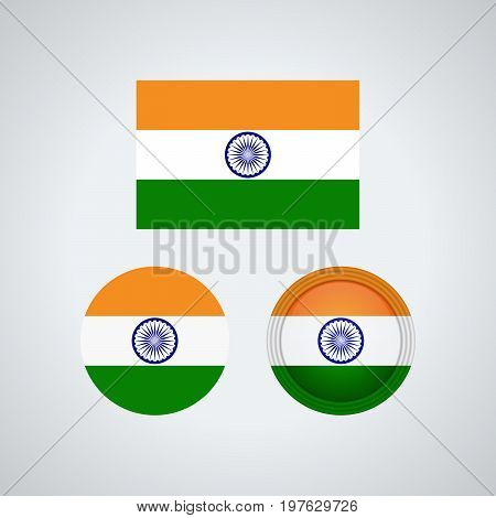 Indian Trio Flags, Vector Illustration