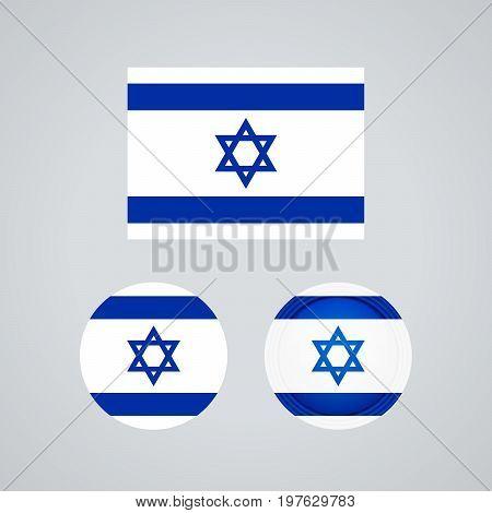 Israeli Trio Flags, Vector Illustration