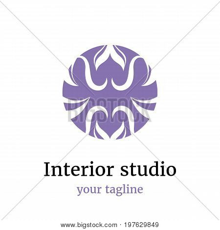 Vector abstract logo for the interior studio yoga studio fitness club massage parlor Ayurveda school.