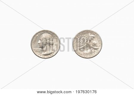Both sides of an old (1966) US quarter isolated on a white background.