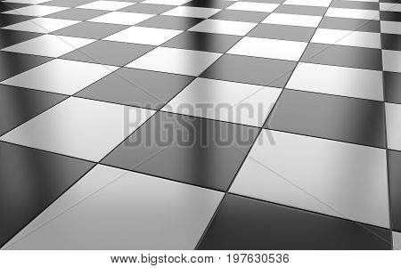 Black and white glossy ceramic tile floor background. 3d rendering