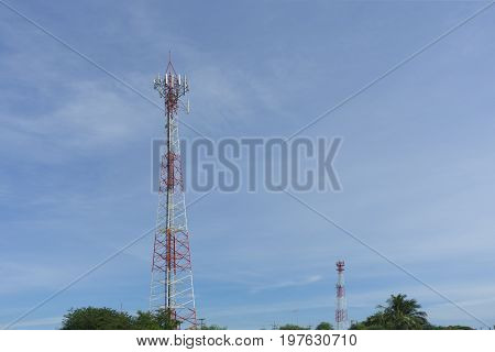 Two telephone transmission poles and blue sky