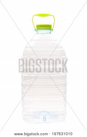 Large transparent bottle with water isolated on a white background