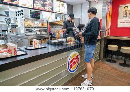 INCHEON, SOUTH KOREA - CIRCA JUNE, 2017: Burger King at Incheon International Airport. Burger King is an American global chain of hamburger fast food restaurants.