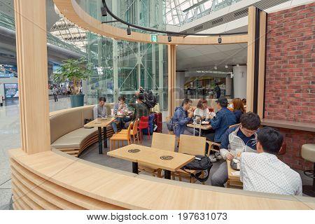 INCHEON, SOUTH KOREA - CIRCA MAY, 2017: Burger King at Incheon International Airport. Burger King is an American global chain of hamburger fast food restaurants.