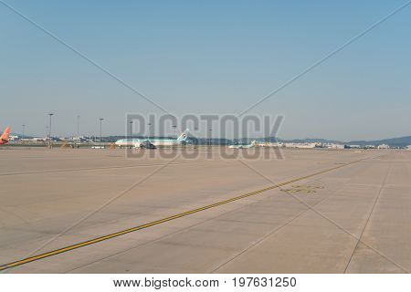 INCHEON, SOUTH KOREA - CIRCA MAY, 2017: Incheon International Airport at daytime. Incheon International Airport is the primary airport serving the Seoul Capital Area.