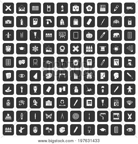 100 paint school icons set in black color isolated vector illustration