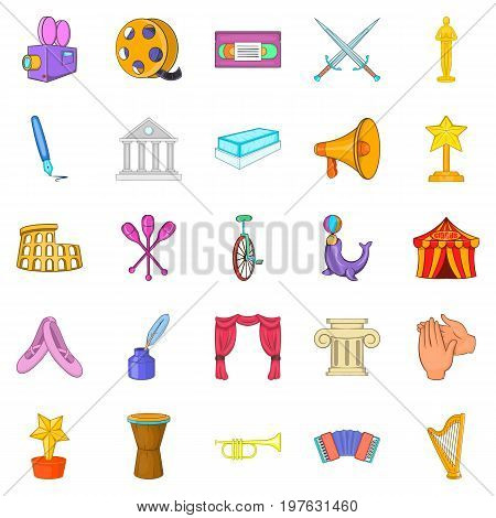 Liberal arts icons set. Cartoon set of 25 liberal arts icons for web isolated on white background