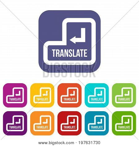 Translate button icons set vector illustration in flat style in colors red, blue, green, and other