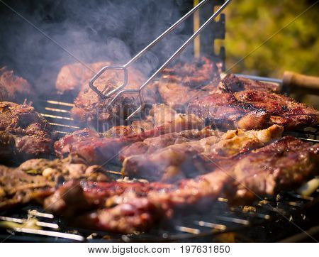 Assorted delicious grilled meat over the coals on a barbecue. Beef, lamb and chicken steaks on the grill with flames. Meat char-grilled over flame.