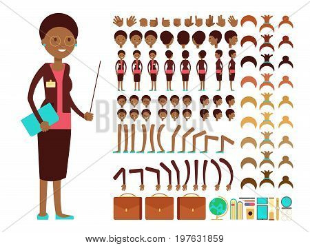 Flat female teacher or professor character creation vector constructor. Teacher cartoon person woman, character lady body parts teacher illustration