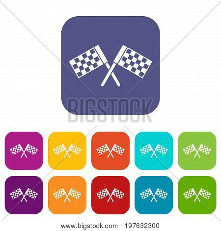 Crossed chequered flags icons set vector illustration in flat style in colors red, blue, green, and other