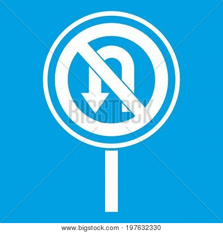No U turn road sign icon white isolated on blue background vector illustration