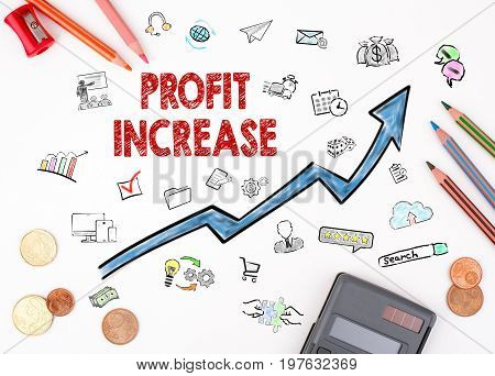 Profit Increase concept. The sheet of paper with diagram.