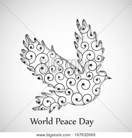 illustration of Pigeon with World Peace Day text on the occasion of International Peace Day