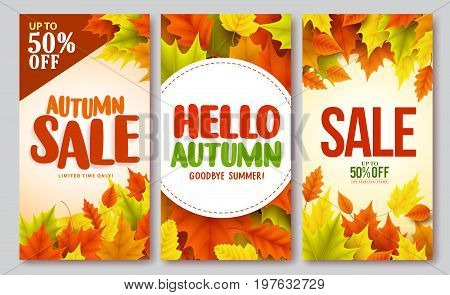 Autumn sale and hello autumn vector design set of posters and background for fall season with maple leaves. Vector illustration.