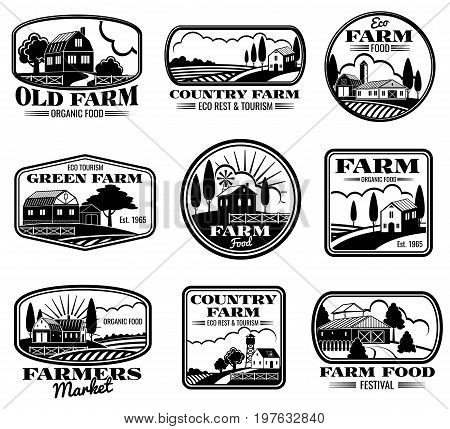 Vintage farm marketing vector logos and labels set. Eco farm and country farm production illustration