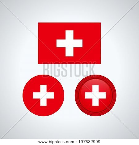 Swiss Trio Flags, Vector Illustration