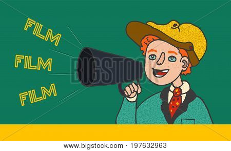 Illustration of boy in retro clothes shouting in megaphone: