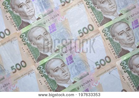 A Close-up Of A Pattern Of Many Ukrainian Currency Banknotes With A Par Value Of 500 Hryvnia. Backgr