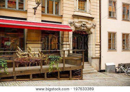Outdoor restaurant in Gamla Stan, Stockholm city.