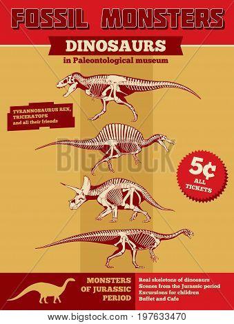 Jurassic park vector invitation or poster with scary dinosaur skeletons. Grunge jurassic park poster with monster character skeleton illustration